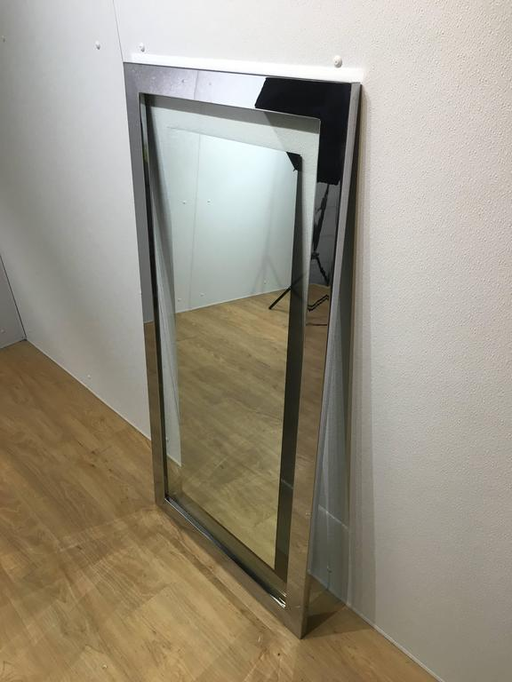 Quot Floating Quot Mirror With Chrome Frame At 1stdibs
