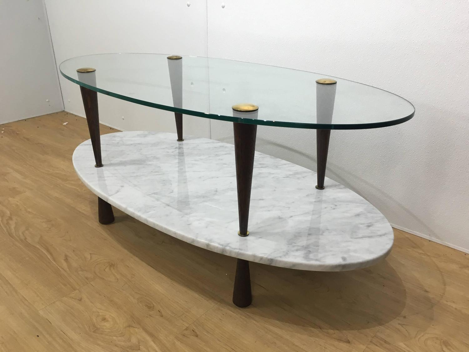 Italian Two Tier Marble And Glass Cocktail Table For Sale At 1stdibs