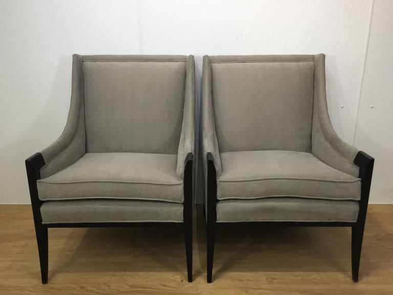 American Pair of Attributed Edward Wormley for Dunbar Club Chairs  For Sale