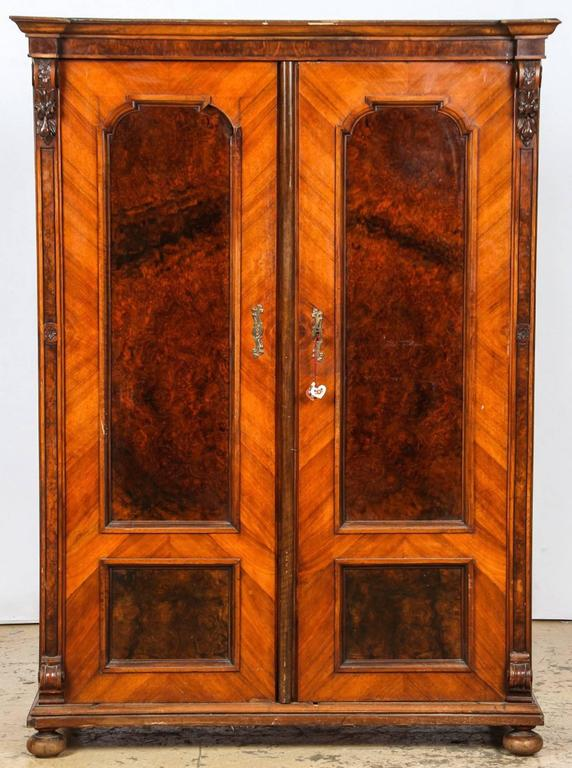 pair of diminutive napoleon iii burl armoires for sale at. Black Bedroom Furniture Sets. Home Design Ideas