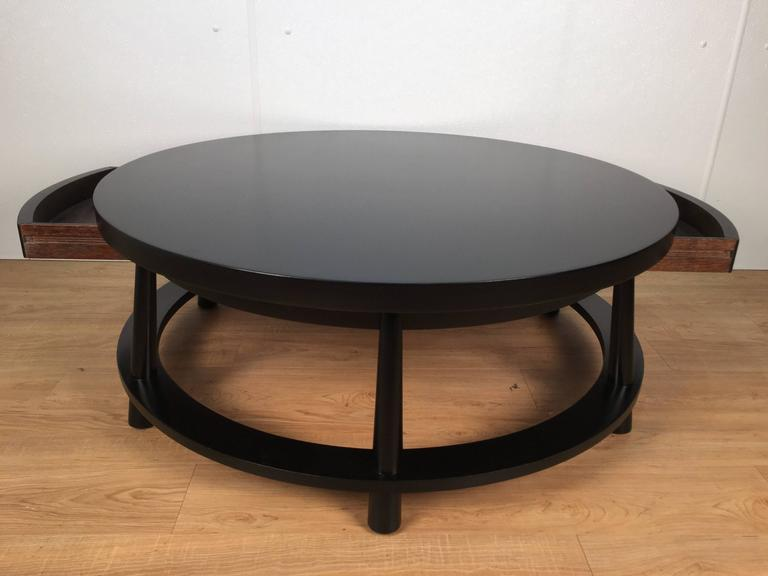 Mid-Century Modern Rare Ebonized Two-Drawer Cocktail Table by T.H. Robsjohn-Gibbings For Sale