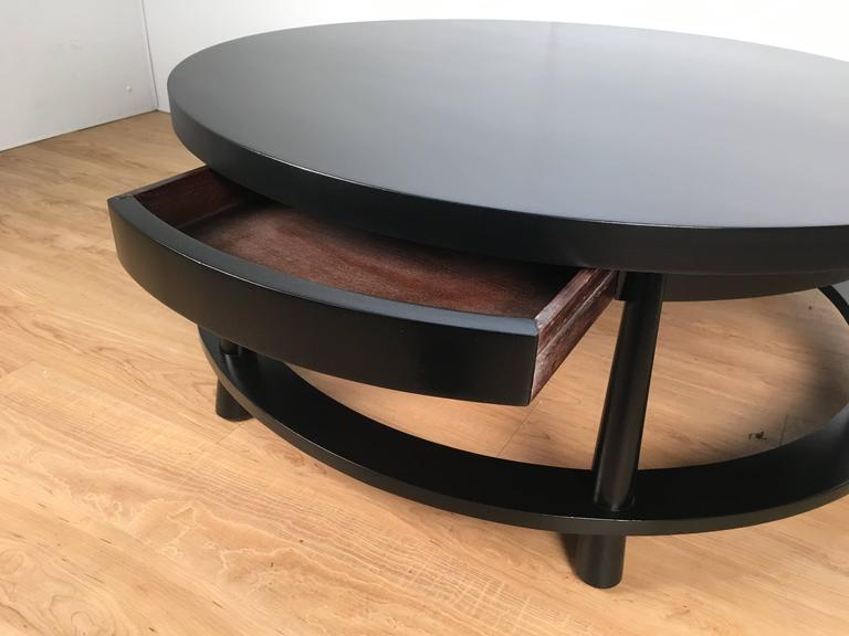 Wood Rare Ebonized Two-Drawer Cocktail Table by T.H. Robsjohn-Gibbings For Sale