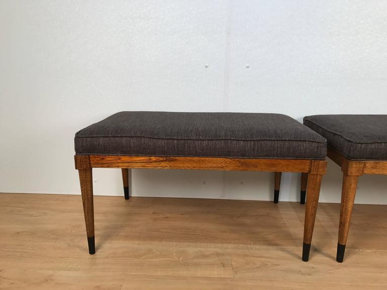 Pair of T.H. Robsjohn-Gibbings Walnut Benches 2