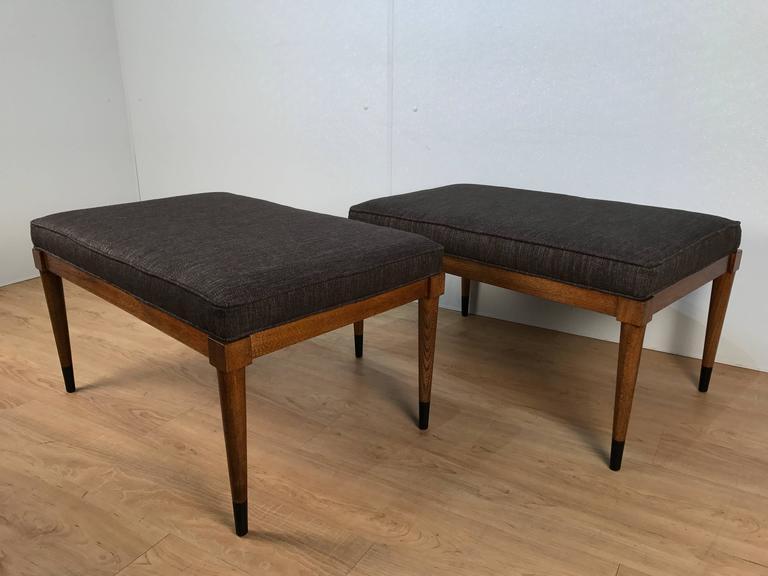 Pair of T.H. Robsjohn-Gibbings Walnut Benches 4
