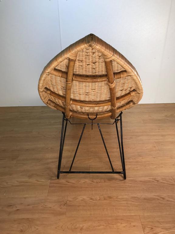 European Lina Zervudachi for Elsa Schiaparelli Rattan Fish Lounge For Sale