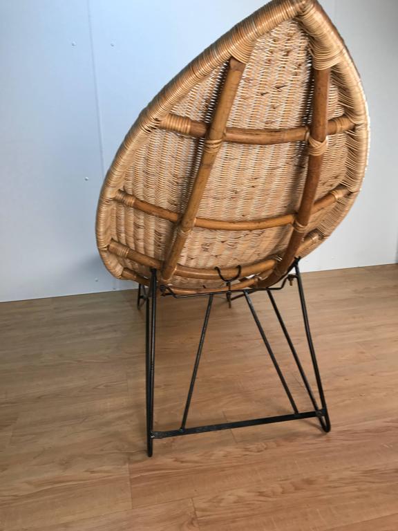 Woven Lina Zervudachi for Elsa Schiaparelli Rattan Fish Lounge For Sale
