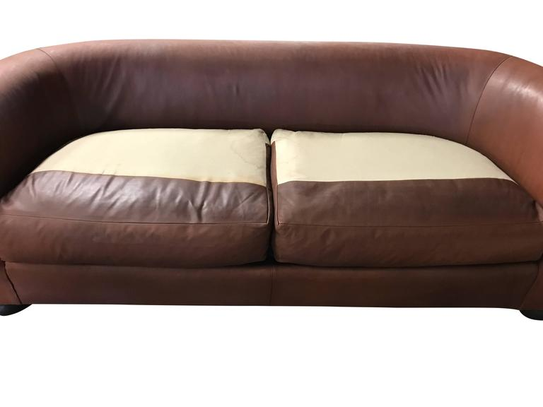 Large Ralph Lauren Brown Leather Modern Chesterfield Sofa with Rolled Arms For Sale 1