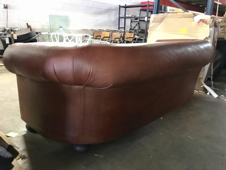 20th Century Large Ralph Lauren Brown Leather Modern Chesterfield Sofa with Rolled Arms For Sale