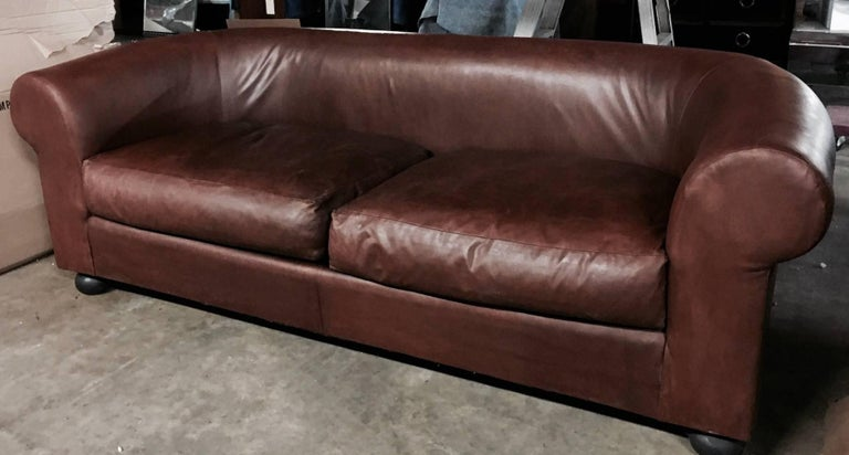 Large Ralph Lauren brown leather modern Chesterfield sofa, with rolled arms