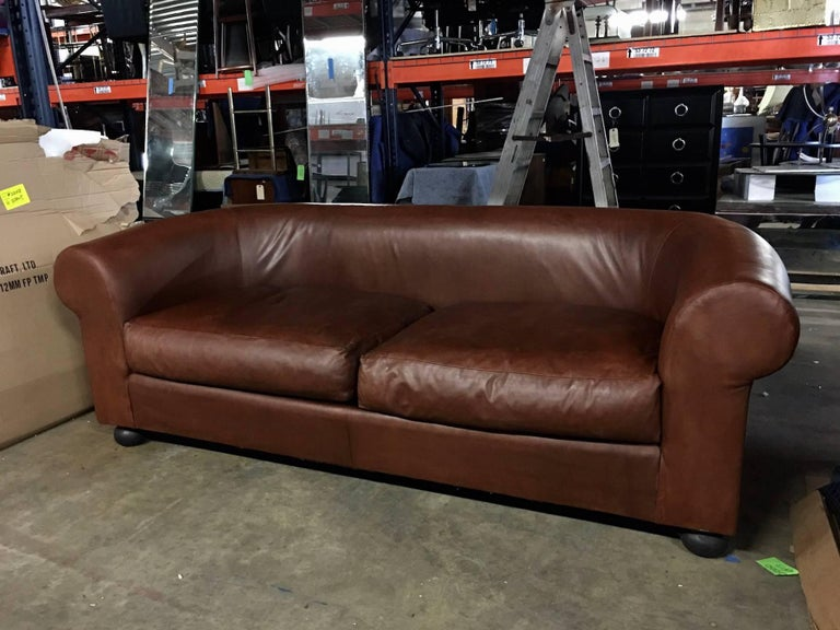 Large Ralph Lauren Brown Leather Modern Chesterfield Sofa with Rolled Arms In Good Condition For Sale In Oaks, PA