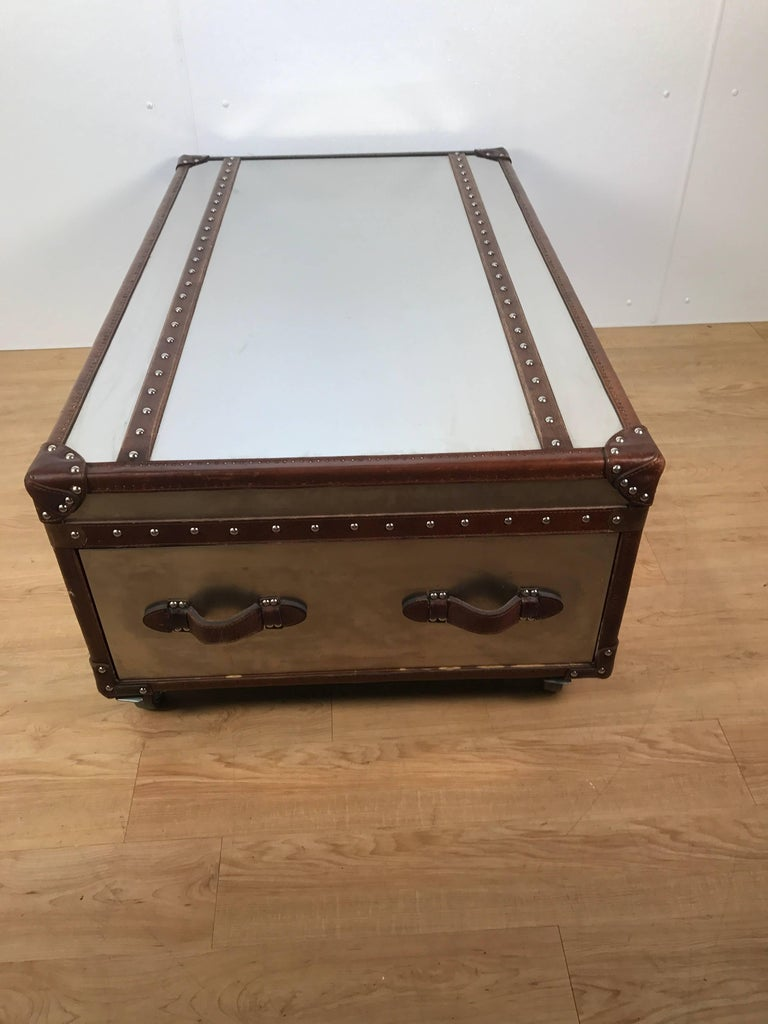 Campaign Stainless Steel And Leather Bound Trunk Coffee Table With Two Side Drawers For