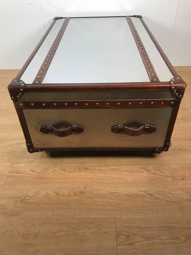 Stainless Steel And Leather Bound Trunk Coffee Table With Two Side Drawers For Sale At 1stdibs