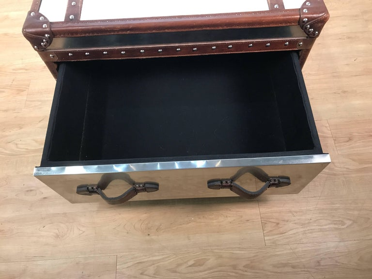 Stainless Steel and Leather Bound Trunk Coffee Table with