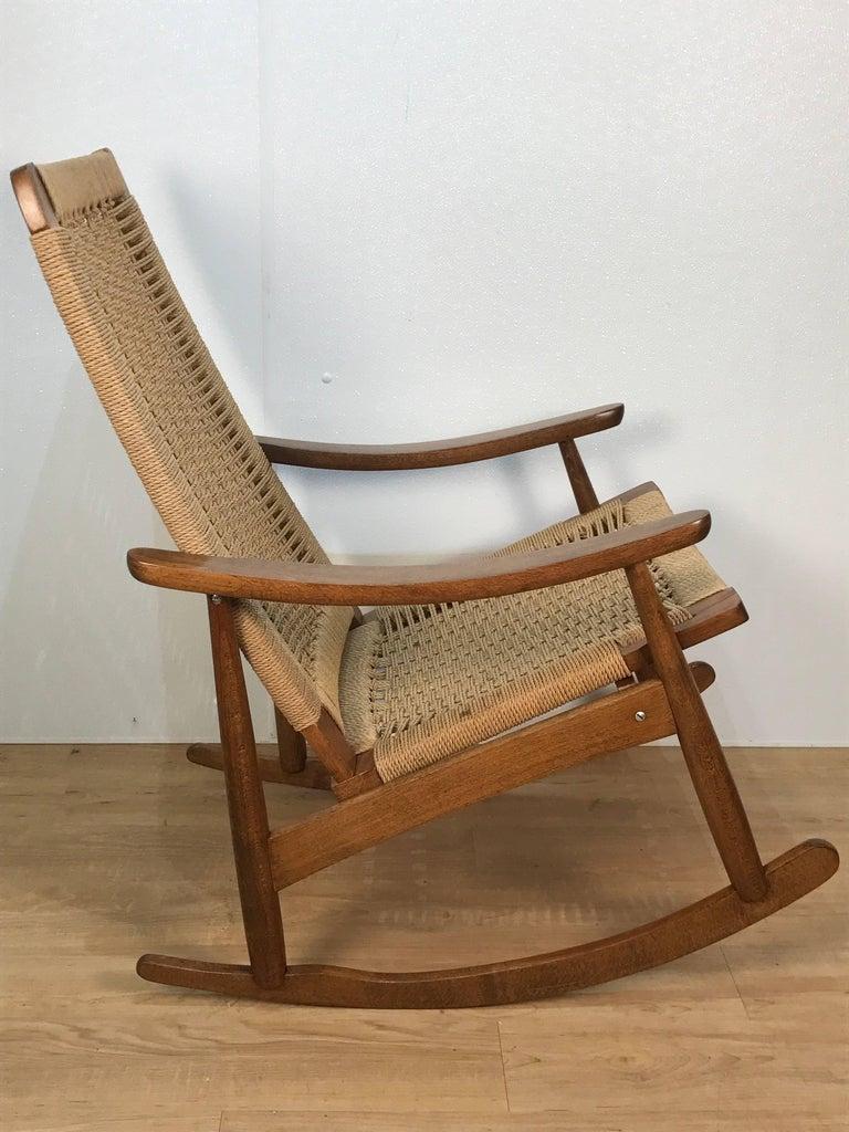 Mid-Century Modern Mid-Century Wegner Style Rocking Chair