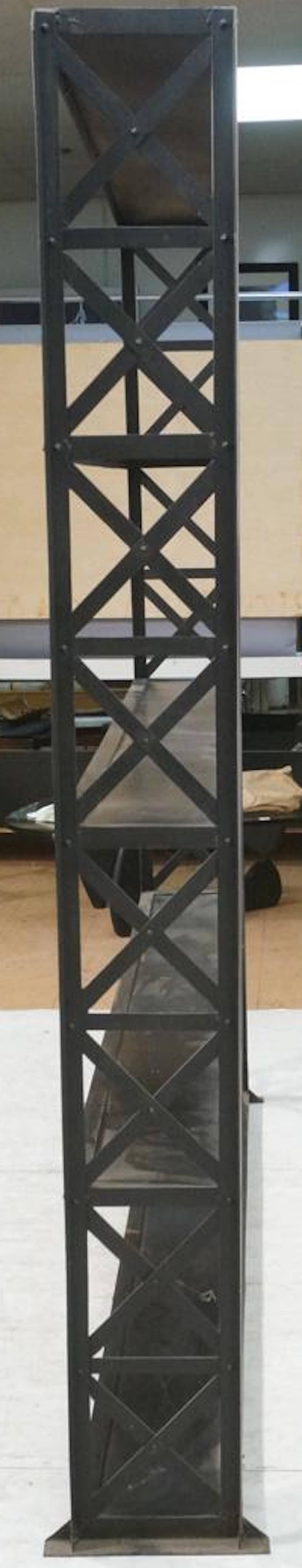 Large and Narrow Industrial Blackened Iron and Steel Bookcase or Etagere For Sale 1