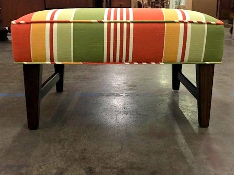 Upholstery Pair of Danish Modern Trestle Ottomans, Restored For Sale