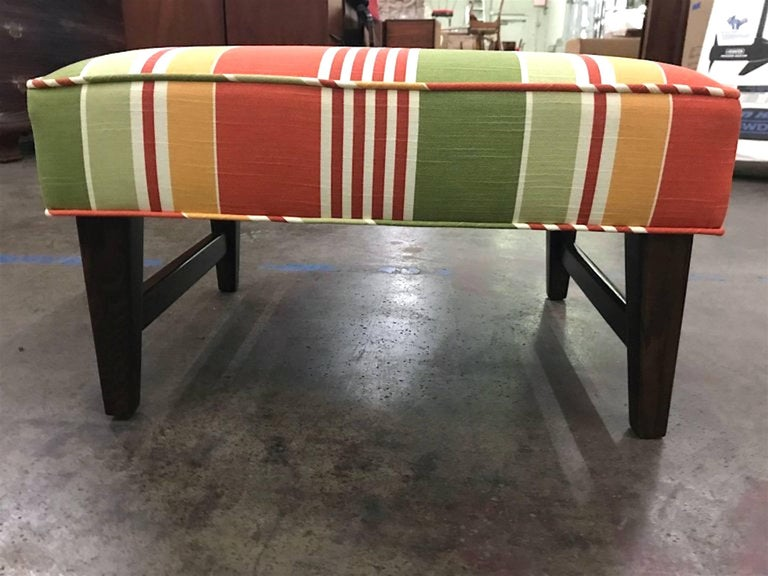 Pair of Danish Modern Trestle Ottomans, Restored In Excellent Condition For Sale In Oaks, PA