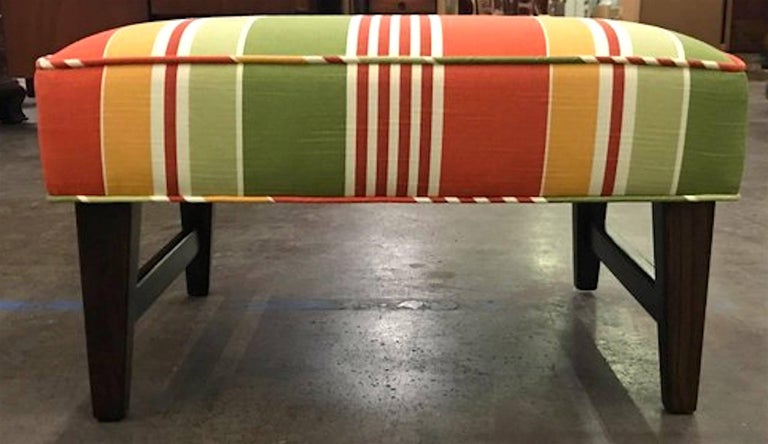 Pair of Danish modern ottomans, restored, each one with newly upholstered seats.