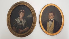 Two 19th Century Miniature Oil Portraits on tin.