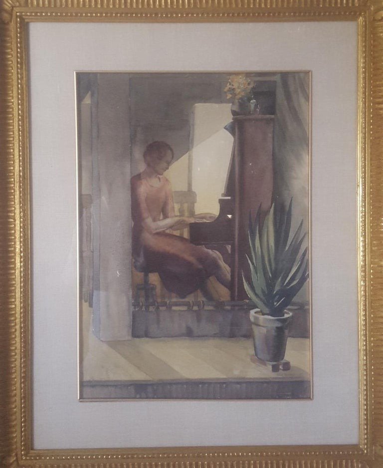 This watercolor painting is signed on the lower right in pencil, W. J. Eckert '37. I purchased this painting in 1990 from a gallery in Santa Monica, California. It had recently been framed by the gallery in it's current, metal leaf frame and it
