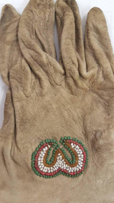 Leather 19th Century Native American Beaded Gloves For Sale