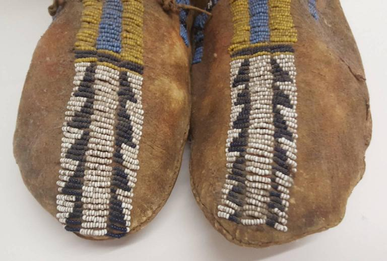 Native American 19th Century Plains Beaded Moccasins For Sale