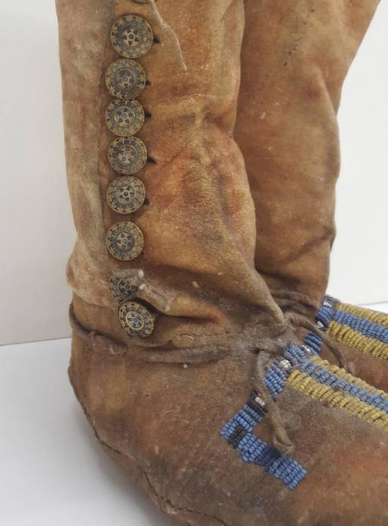 American 19th Century Plains Beaded Moccasins For Sale
