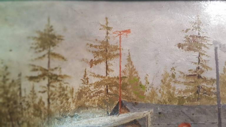 American 20th Century Naive Painting of Logging Scene with Four Male Woodsmen For Sale