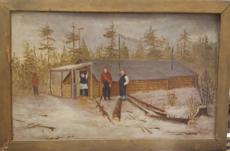 20th Century Naive Painting of Logging Scene with Four Male Woodsmen In Good Condition For Sale In Van Nuys, CA