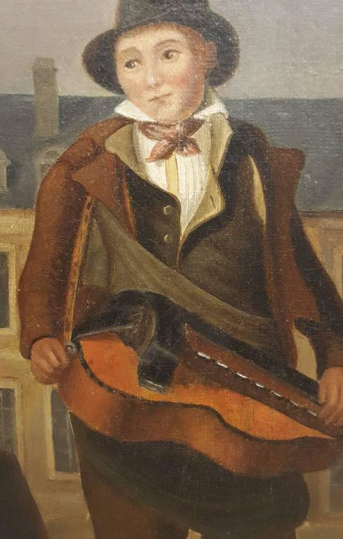 Louis Philippe Western European (French) 19th Century Oil Painting of Street Musician For Sale