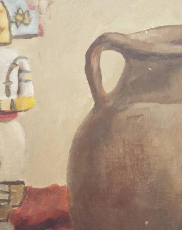 Arts and Crafts 20th Century Oil Painting of Still Life with Native American Artifacts For Sale