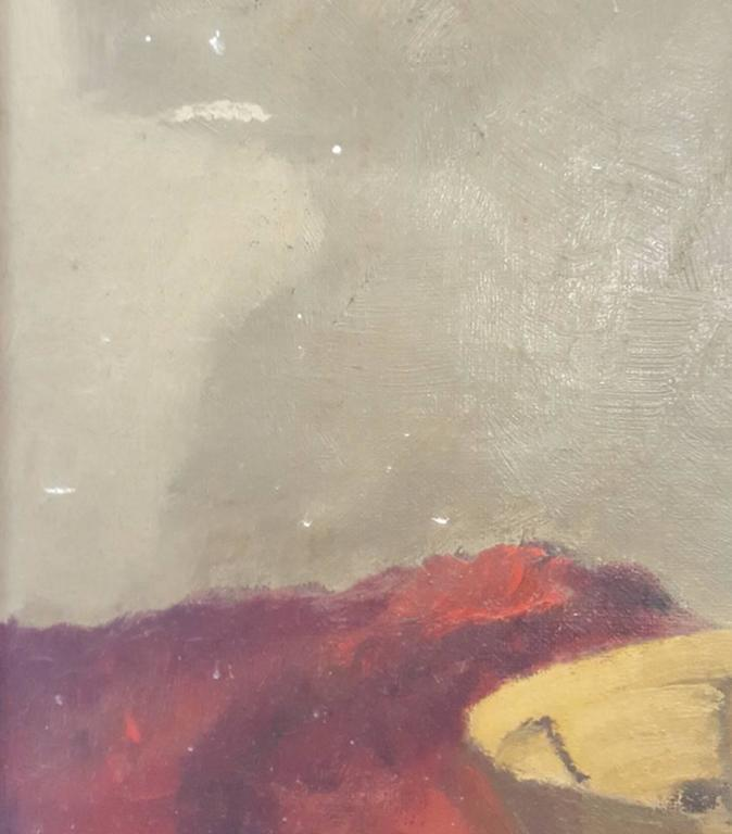 Hand-Painted 20th Century Oil Painting of Still Life with Native American Artifacts For Sale