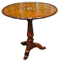 18th Century Tuscan Walnut, Ivory and Ebony Marquetry Side Table