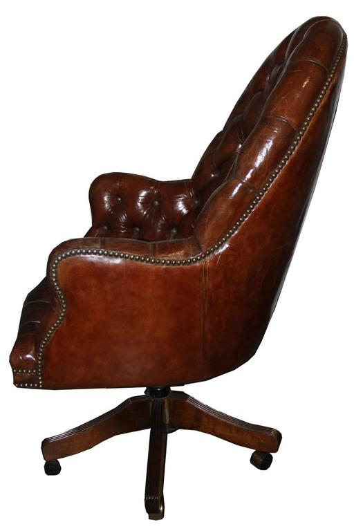 Classic English Tufted and Adjustable Swivel Desk Chair 2