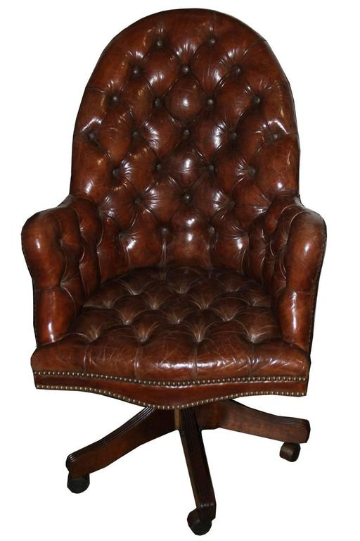 Classic English Tufted and Adjustable Swivel Desk Chair 3