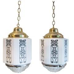 Art Deco Milk Glass Hexagonal Shaped Pair of Hanging Lamps
