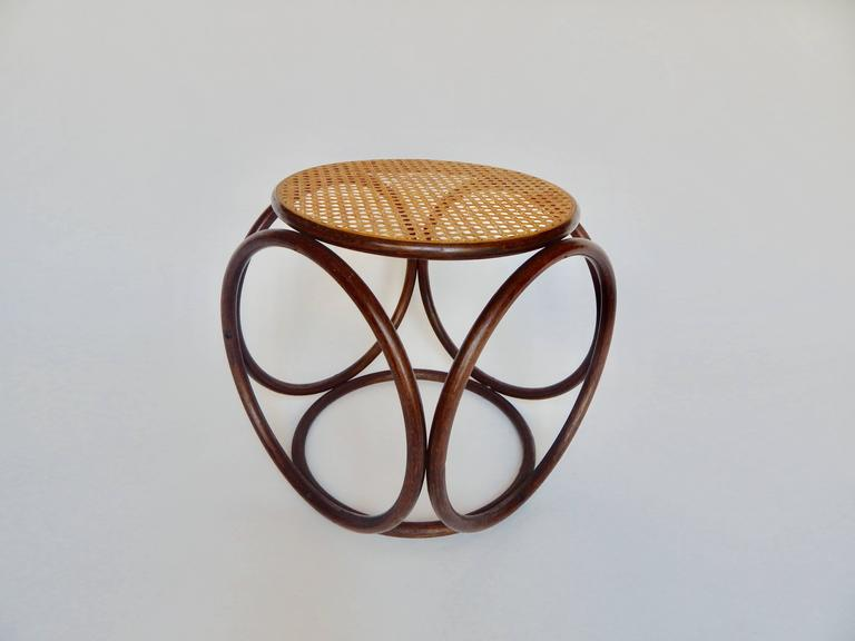 Thonet Bentwood And Cane Stool At 1stdibs