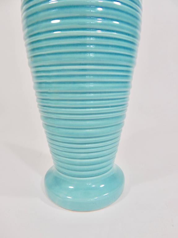 20th Century Mid-Century Glazed Ceramic Turquoise Table Lamp For Sale