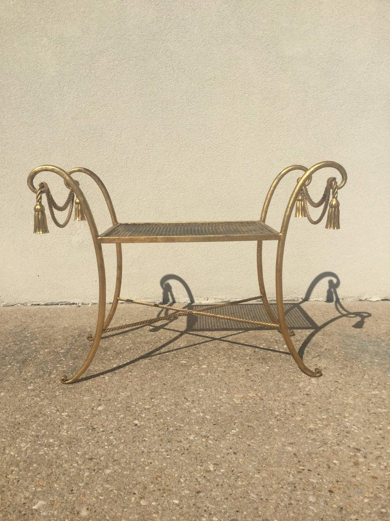 Italian Gilded Iron Bench With Tassels For Sale At 1stdibs