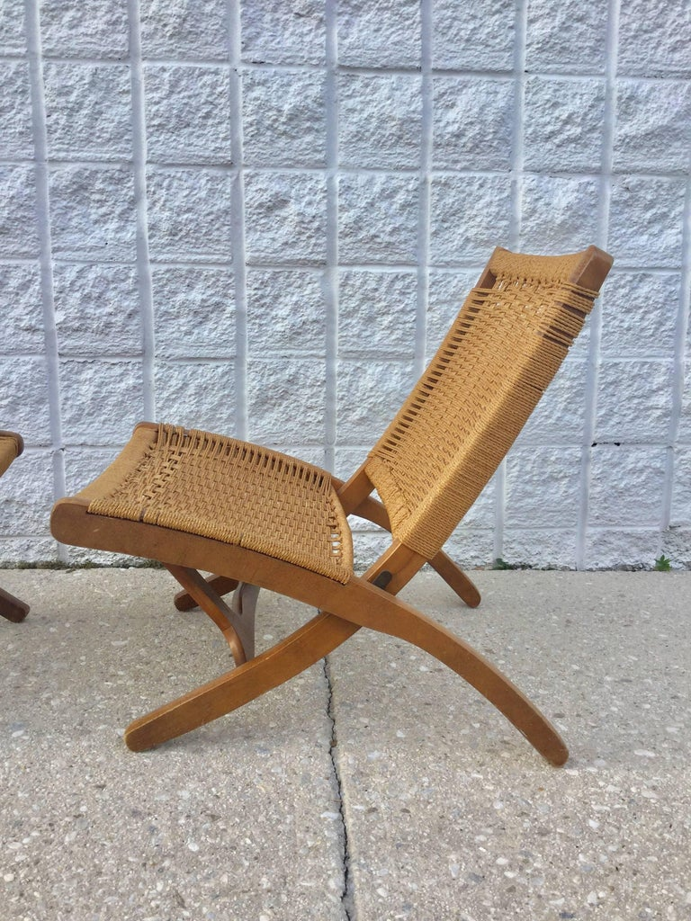 Hans wegner style woven folding chair and ottoman for sale at 1stdibs - Hans wegner style chair ...