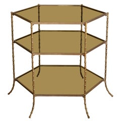 Maison Bagues Three-Tiered Bronze Side Table