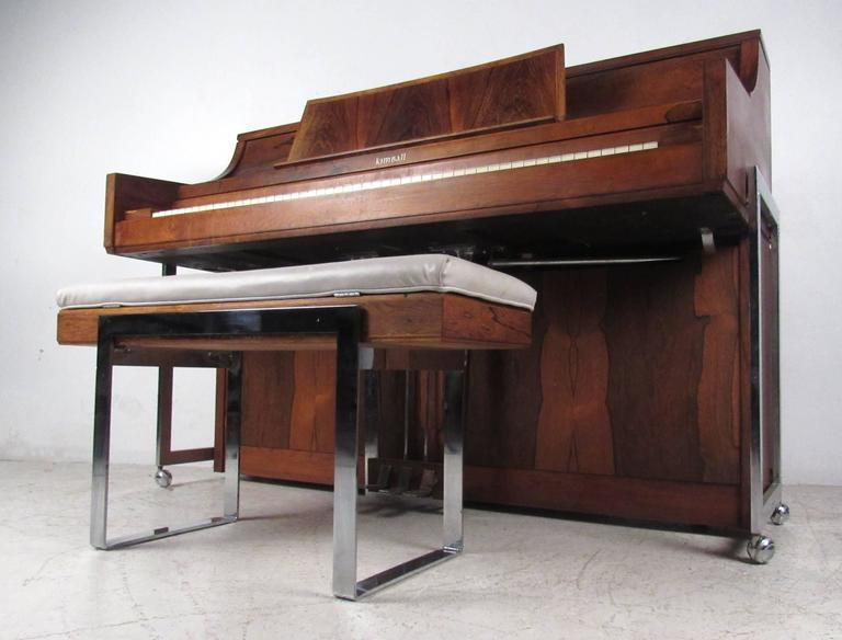 American Exquisite Midcentury Rosewood Piano By Kimball For Sale