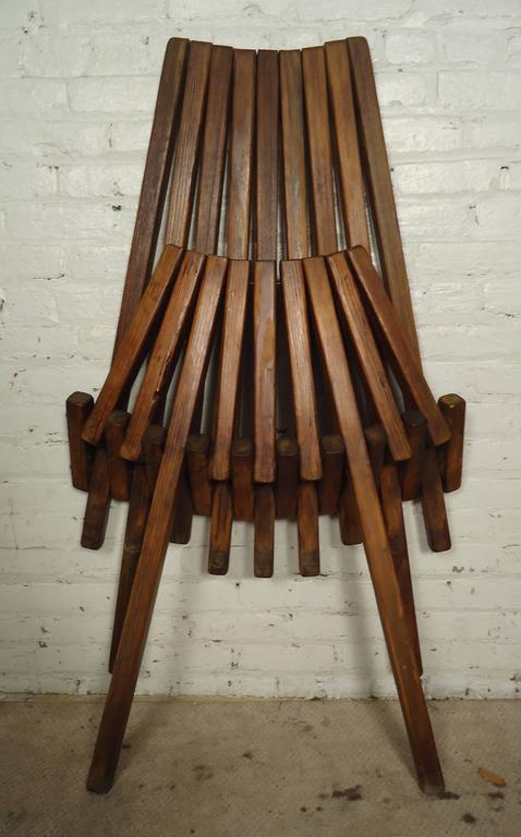 Vintage Modern Indoor Or Outdoor Slatted Wooden Chair, Recently  Re Finished, Folds