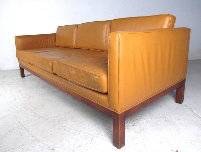 Mid-Century Modern Scandinavian Modern Leather Sofa after Børge Mogensen For Sale