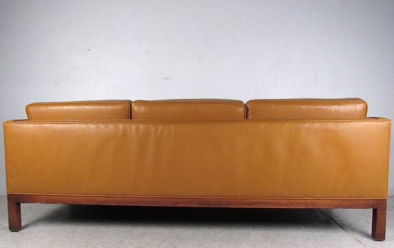 Scandinavian Modern Leather Sofa after Børge Mogensen In Good Condition For Sale In Brooklyn, NY