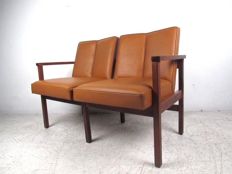 American Mid-Century Modern Vinyl and Walnut Settee For Sale