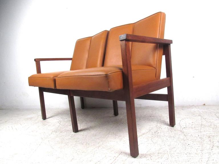 Late 20th Century Mid-Century Modern Vinyl and Walnut Settee For Sale
