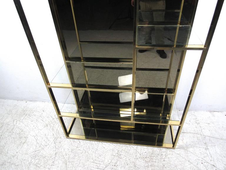 Mid-Century Modern Unique Milo Baughman Style Brass Finish Etagere For Sale