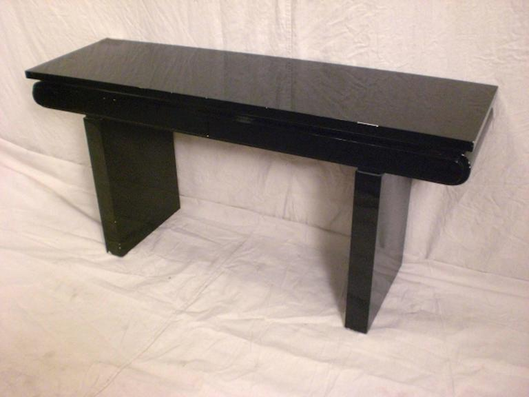 Mid-Century Modern Mid-Century Black Lacquer Console For Sale
