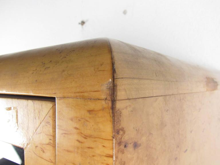 Tall Mid-Century Burl Armoire by Romweber For Sale 1